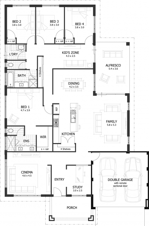 Amazing 4 Bedroom House Plans & Home Designs | Celebration Homes Four Bedroom Floor Plan Photo