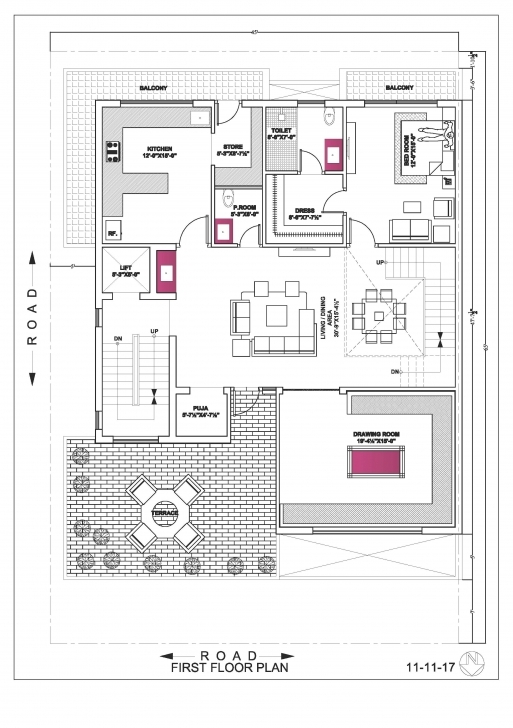 Amazing House Map Plan 45*65 Ground Floor , First Floor & Second Floor By First Floor Plan And Ground Plan Pic