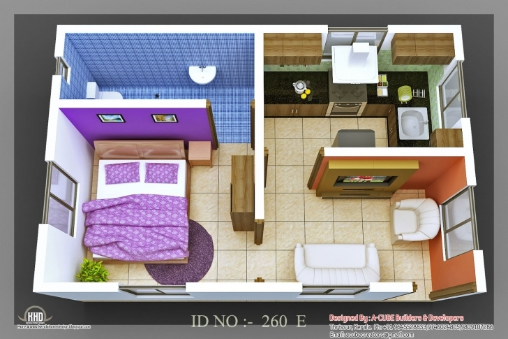 Amazing Single Bedroom House Plans Indian Style 3D Isometric Views Of Small Indian Style Two Bedroom House Plans Pic