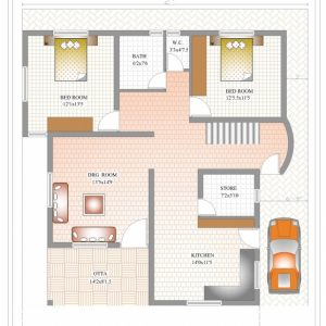 Duplex House Plans Indian Style In 1200 Sq Ft