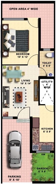 Astonishing 15X50 House Plans - House Decorations 15 By 50 House Layout Plan Image