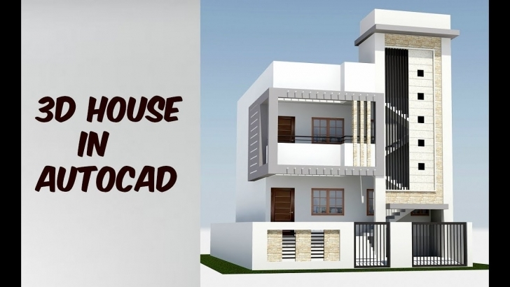 Astonishing 2 Floor 3D House Design In Autocad - Youtube 3d House Design Pic