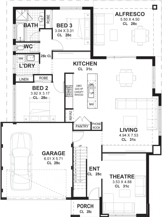 Astonishing 3 Bedroom 2 Storey Home Designs Perth | Vision One Homes 3 Bedroom Storey Building Plans Image