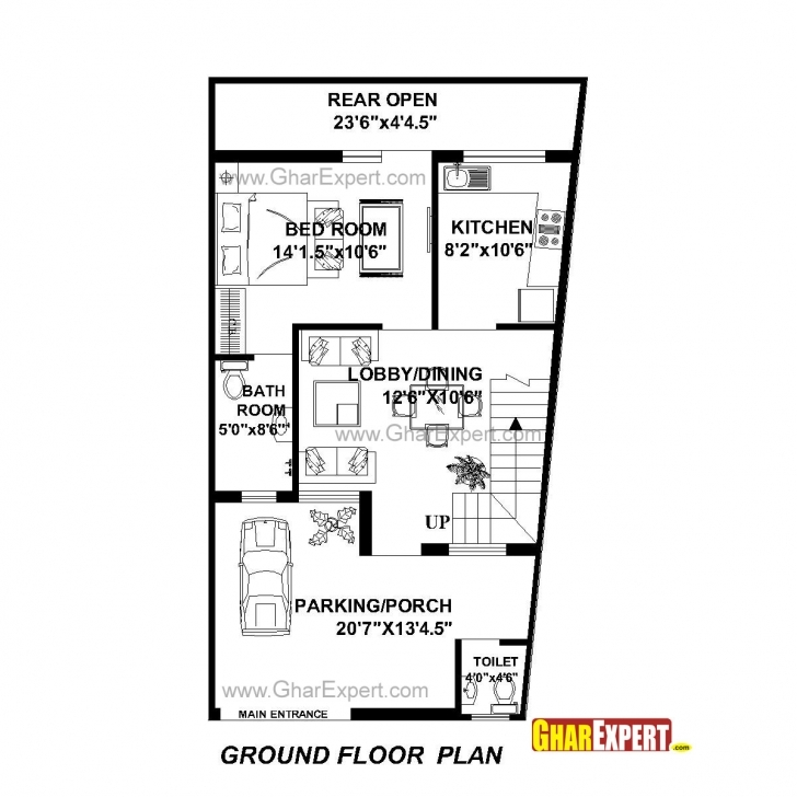 Astonishing House Plan For 22 Feet By 42 Feet Plot (Plot Size 103 Square Yards House Plan For 23 Feet By 45 Feet Picture