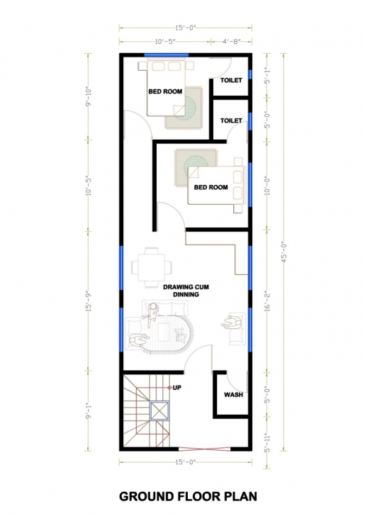 Awesome 15 By 45 House Plan - House Design Plans 15 By 45 House Layout Plan Photo