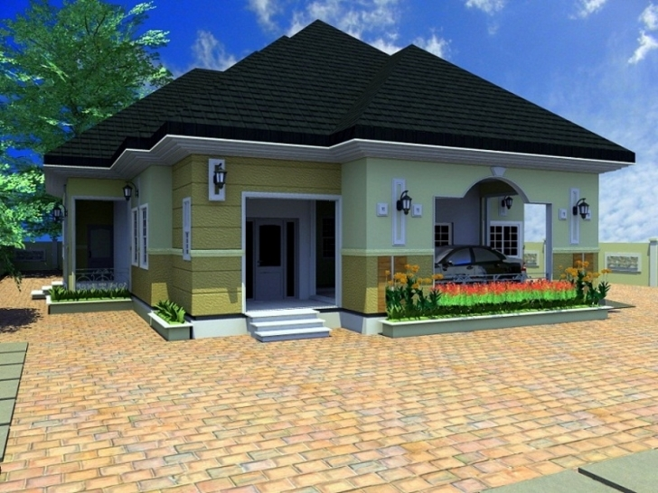 Awesome Bedroom: Four Bedroom Bungalow House Plans Simple 4 Bedroom Bungalow Architectural Design Pic
