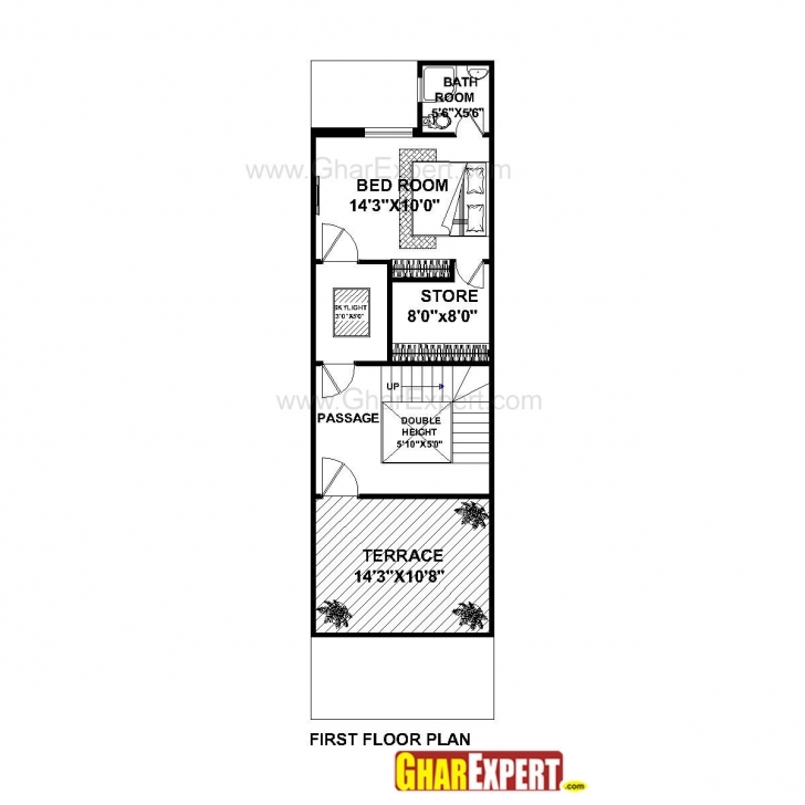 Awesome House Plan For 16 Feet By 54 Feet Plot (Plot Size 96 Square Yards 15 Feet By 60 Feet House Plan 3d Image