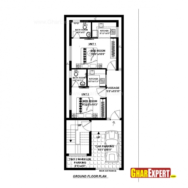 Awesome House Plan For 20 Feet By 52 Feet Plot (Plot Size 116 Square Yards House Plan For 15 Feet By 60 Feet Plot (Plot Size 100 Square Yards) Pic
