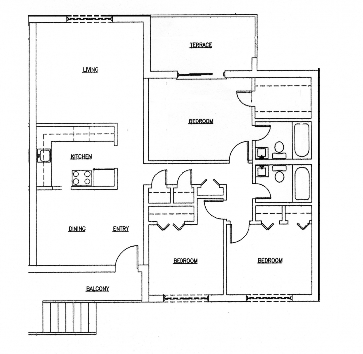 Best 25 More 3 Bedroom 3D Floor Plans For Alluring Simple House - Home 2550 House Plan 3d Pic