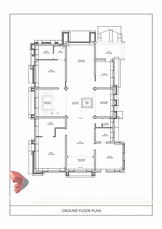 Best Bunglow Design- 3D Architectural Rendering Services - 3D 2 Bhk Plan Elevation Section Picture