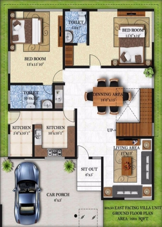 Best Fashionable 20 X 40 House Plans East Facing 7 50 Floor 40X Planskill 20 X 50 House Plans East Facing Picture