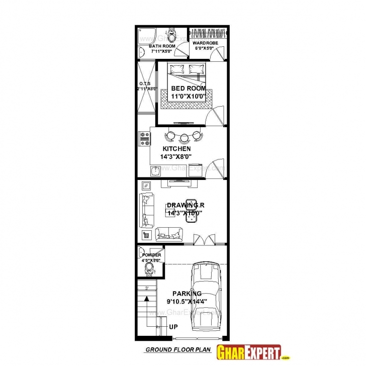 Best House Plan For 15 Feet By 50 Feet Plot (Plot Size 83 Square Yards 15 By 50 House Layout Plan Image