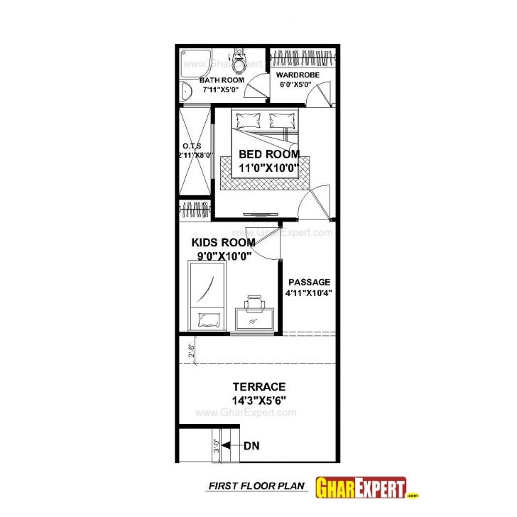 Best House Plan For 15 Feet By 50 Feet Plot (Plot Size 83 Square Yards 15 By 50 House Layout Plan Picture