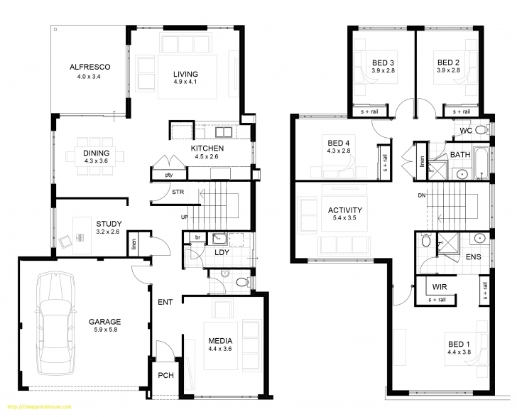 Best Two Storey Modern House Design With Floor Plan With Elevation Newest Two Storey House Floor Plan And Elevations Photo