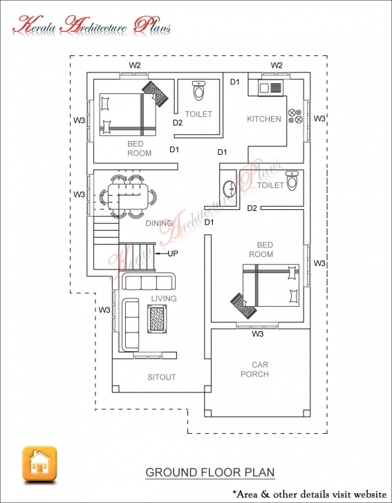 Brilliant 3 Bed Room 1500 Square Feet House Plan - Architecture Kerala 1500 Sq Ft House Plans In Kerala Image