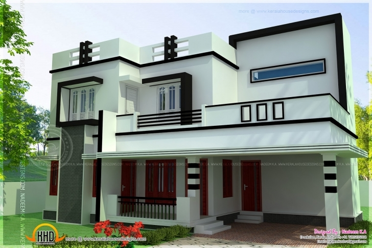 Brilliant Flat Roof Bedroom Modern House Kerala Home Design Floor Plans Flat House Design Images Pic
