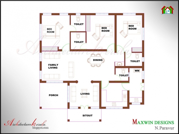 Brilliant Kerala House Plan Photos And Its Elevations, Contemporary Style Kerala Style 4 Bedroom House Plans Single Floor Picture