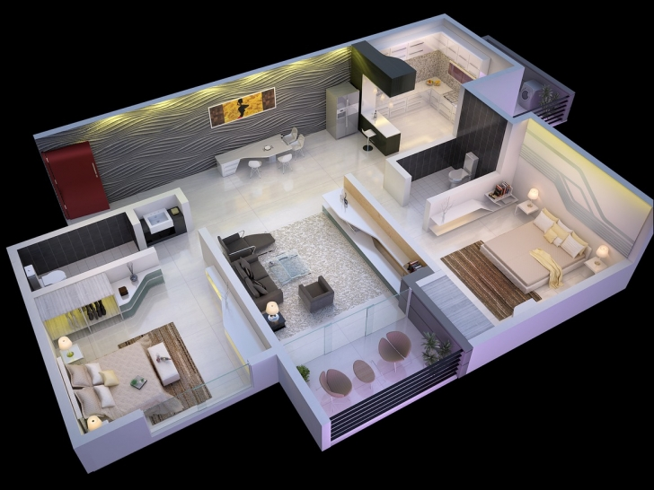 Brilliant Simple House Designs 2 Bedrooms Bedroom Amenthouse Plans Ideas 2 Bhk 2 Bedroom House Plans With Photos Pic