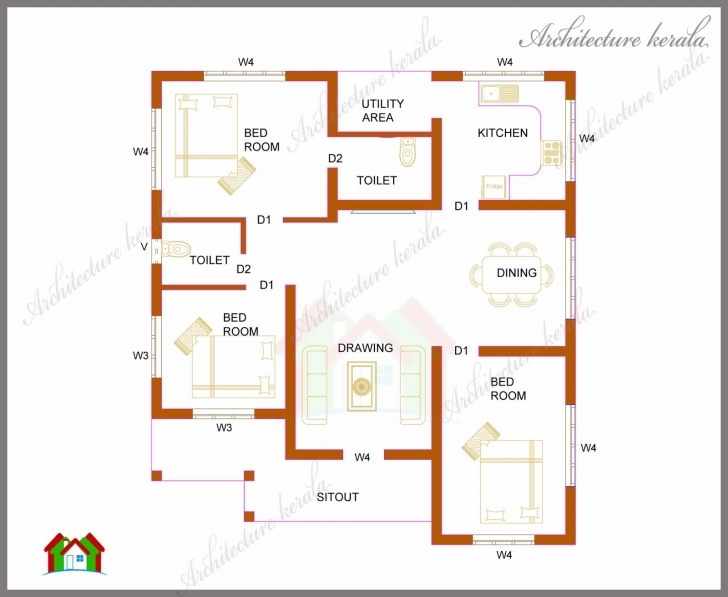 Brilliant Three Bedrooms In 1200 Square Feet Kerala House Plan - Architecture Kerala House Plan Image