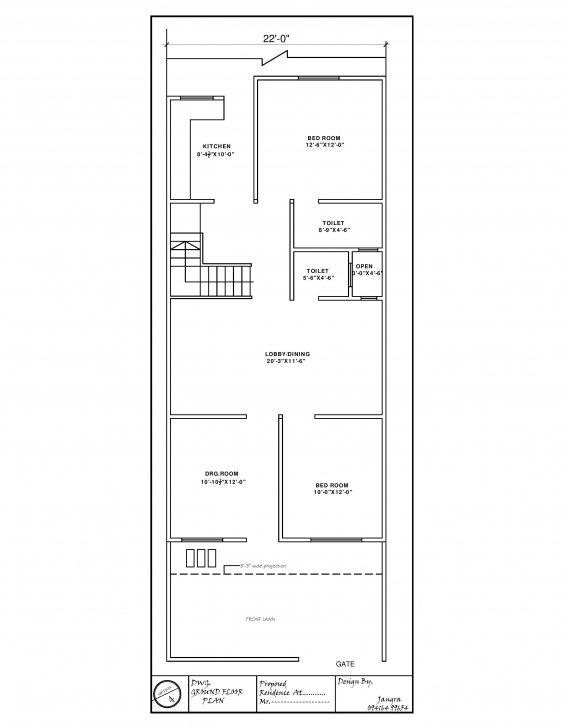 Classy 22' X 60' House Plan - Gharexpert 20 X 60 House Plans South Facing Pic