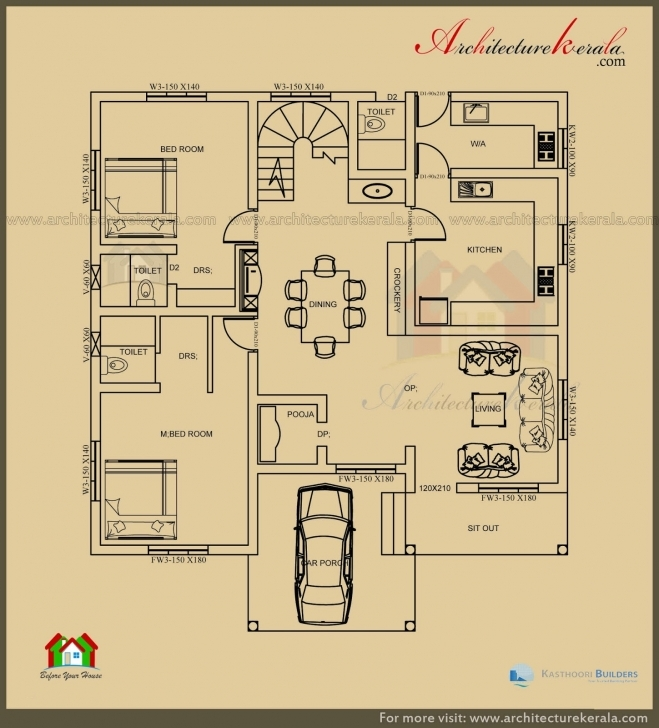 Classy 2500 Sq Ft 3 Bedroom House Plan With Pooja Room - Architecture Kerala Kerala Model House Plans 2500 Sq Ft Picture
