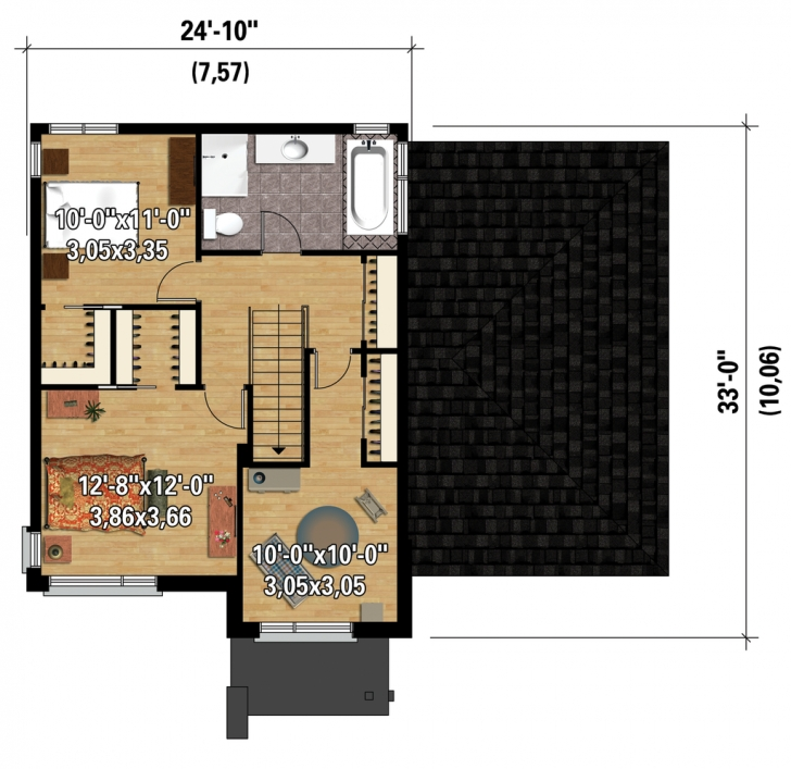 Classy Contemporary Style House Plan - 3 Beds 1.00 Baths 1545 Sq/ft Plan 1545 House Plan Pic