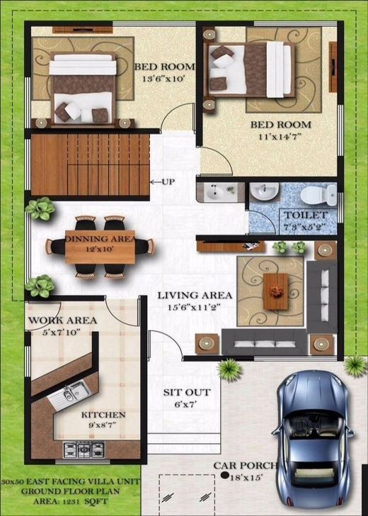 Classy Homely Design 13 Duplex House Plans For 30×50 Site East Facing In 30 15 By 50 House Layout Plan Image