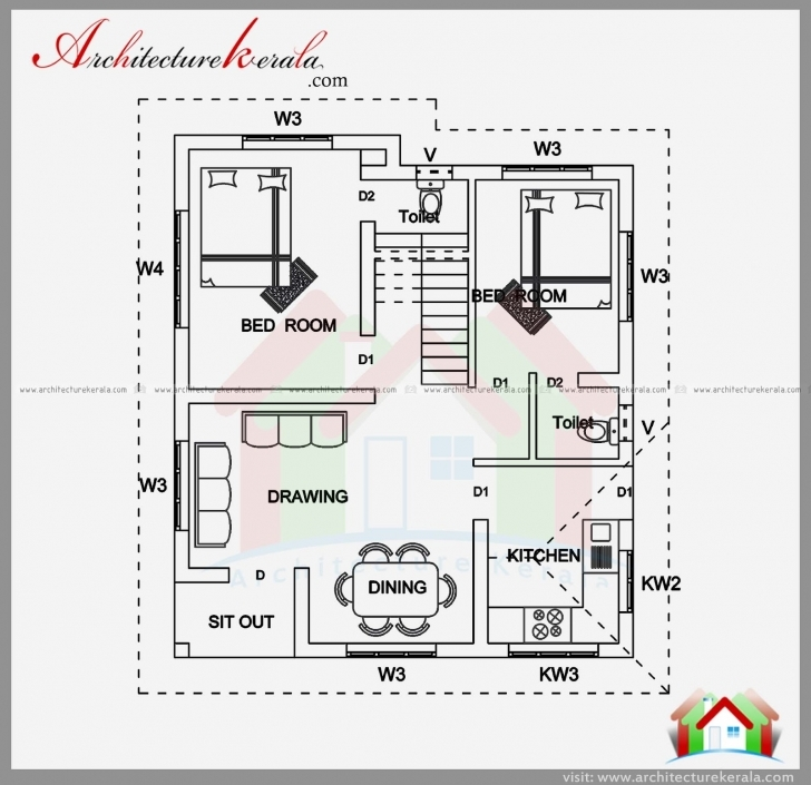 Cool 2 Bedroom House Plan And Elevation In 700 Sqft - Architecture Kerala Two Bedroom Plans Kerala Pic