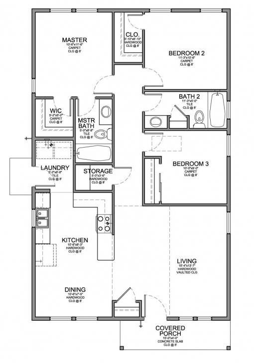 Cool Floor Plan For A Small House 1,150 Sf With 3 Bedrooms And 2 Baths 3 Bedroom House Design Pic