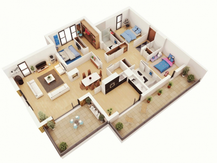 Cool Free 3 Bedrooms House Design And Lay-Out Simple House Plan With 3 Bedrooms Picture