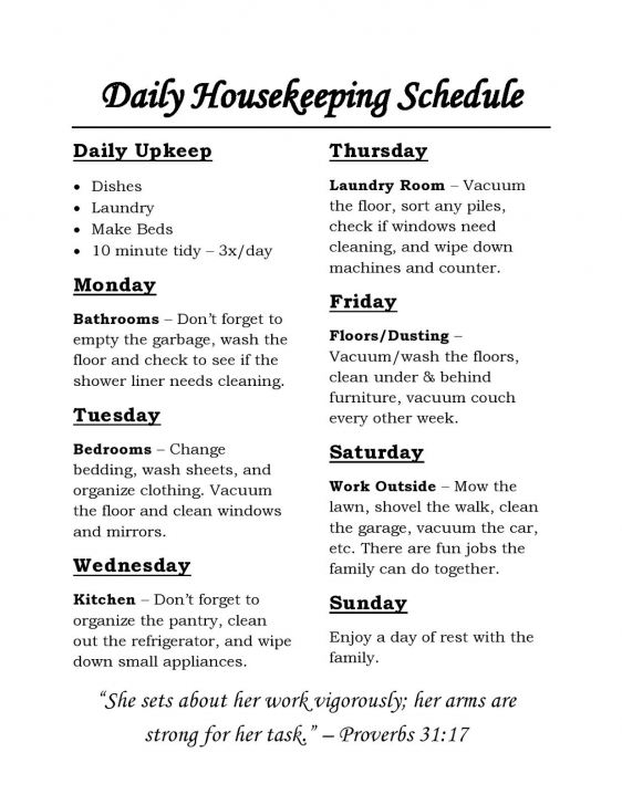 Cool Housekeeping Schedule: Chores For Each Day Of The Week And Daily Simple Housekeeping Rules Pic