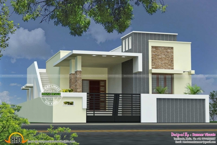 Cool Stunning Front Elevation Of Single Floor House Kerala With Plan Single Floor Front Elevation Image Pic