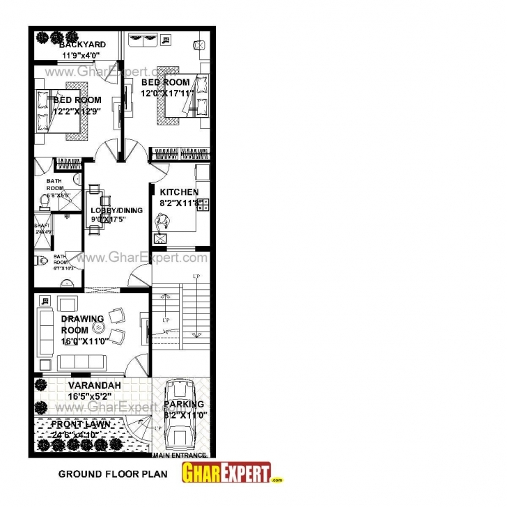 Exquisite House Plan For 26 Feet By 60 Feet Plot (Plot Size 173 Square Yards House Plan For 16 Feet By 60 Feet Plot Pic
