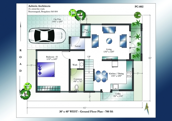 Fascinating 30 X 40 House Plans | 30 X 40 West Facing House Plans Indian Vastu House Plans West Facing Image