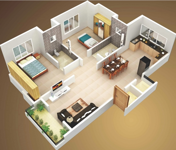 Fascinating Simple House Plan With 2 Bedrooms 3D Best Of Interior 3D Two Bedroom Simple House Plan With 2 Bedrooms 3d Pic