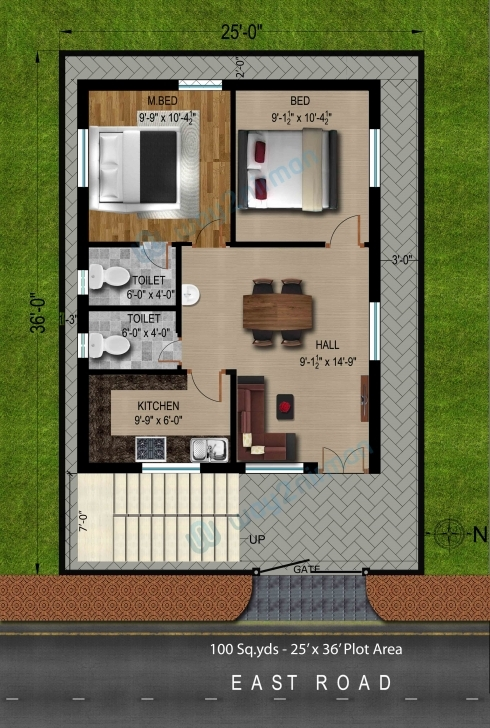 Fascinating Way2Nirman: 100 Sq Yds 25X36 Sq Ft East Face House 2Bhk Floor Plan 2bhk House Plan And Elevation Pic