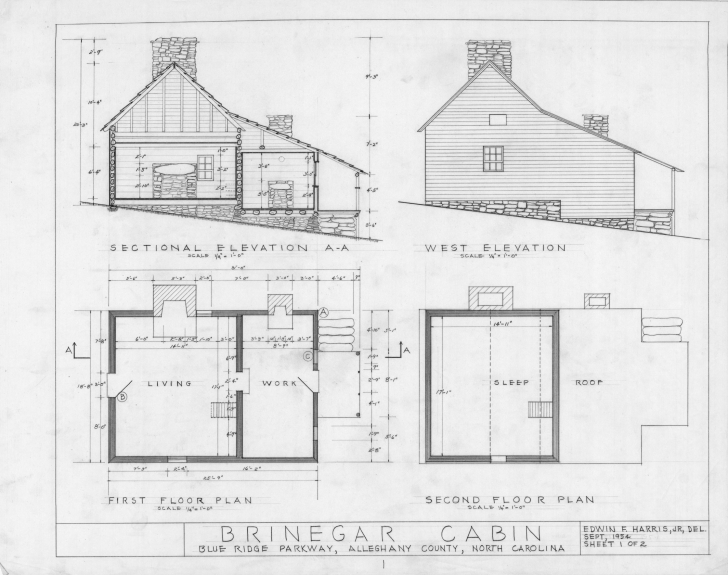 Good Cross Section West Elevation Floor Plans Brinegar House - Building Building Plan With Elevation Pic