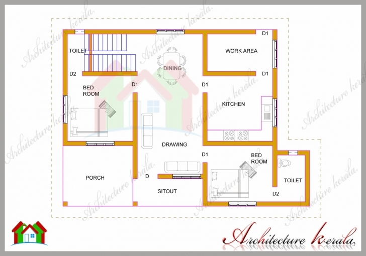 Gorgeous 1200 Square Feet Two Bedroom House Plan And Elevation - Architecture 2 Bhk Plan Elevation Section Image