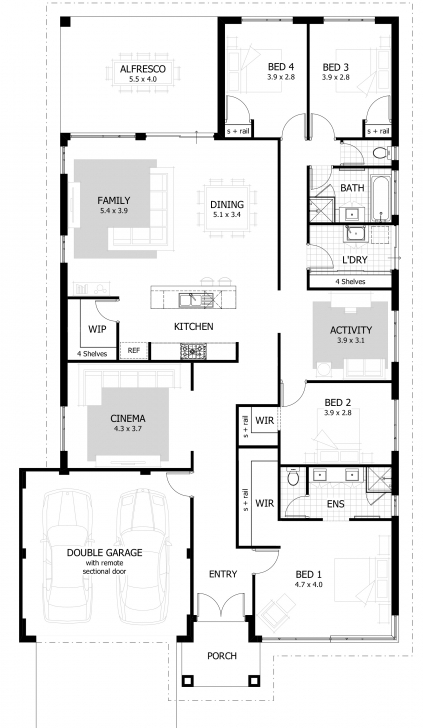 Gorgeous 4 Bedroom House Plans & Home Designs | Celebration Homes Four Bedroom Bungalow Floor Plan Photo