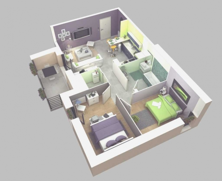 Gorgeous Outstanding Simple House Plan With 2 Bedrooms 3D Inspirations In Simple House Plan With 2 Bedrooms 3d Photo