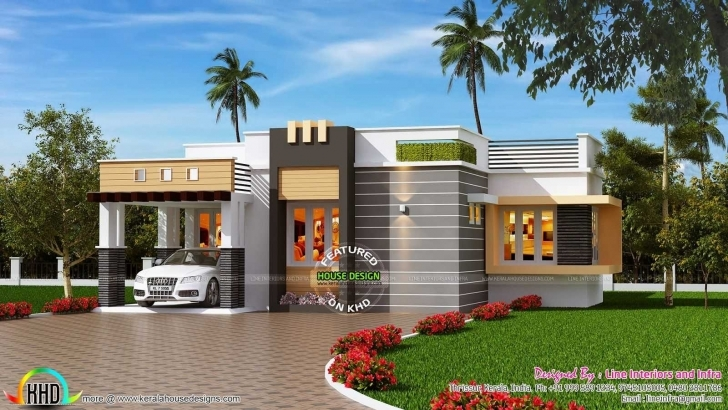 Gorgeous Sq Ft Contemporary Style Ideas And Outstanding Front Elevation Of Single Floor House Elevation Kerala Style Picture