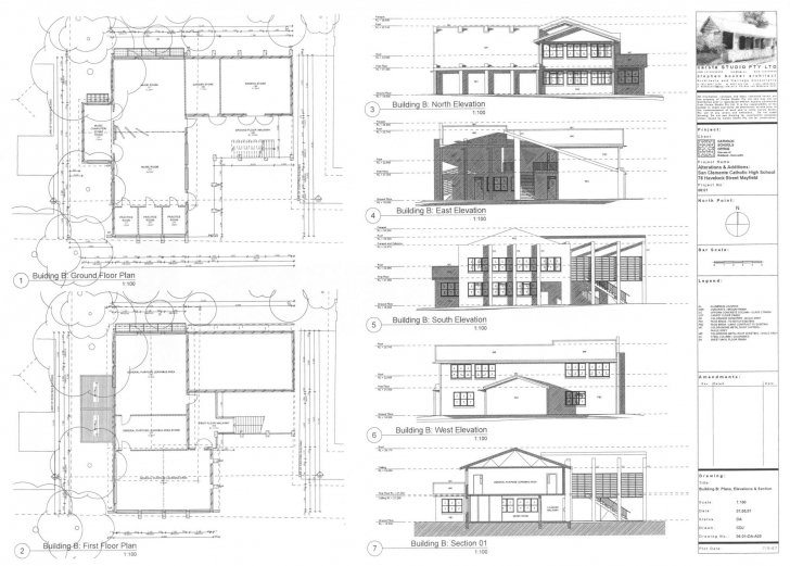 Great Building Plan And Elevation - Homes Floor Plans Simple Plan Elevation Section Of Residential Building Pic