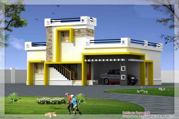 Great Outstanding Front Elevation Of Single Floor House Kerala Trends Also Single Floor Front Elevation Design For House Photo
