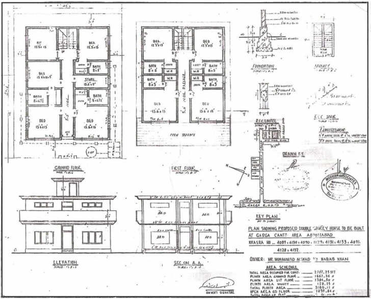 Image of 28+ Collection Of Building Drawing Plan Elevation Section | High Residential Building Plan Section Elevation Dwg Picture