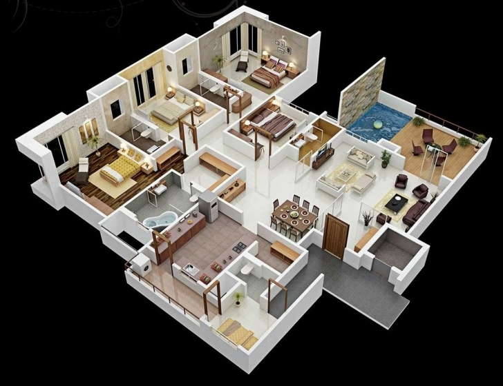 """Image of 50 Four """"4"""" Bedroom Apartment/house Plans 