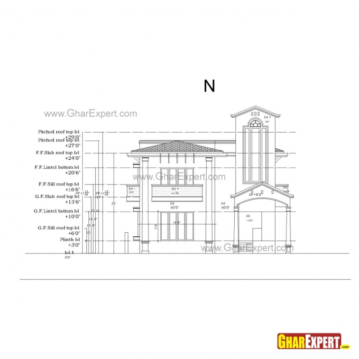 Image of Sample Architectural Structure Plumbing And Electrical Drawings 2 Bhk Plan Elevation Section Picture