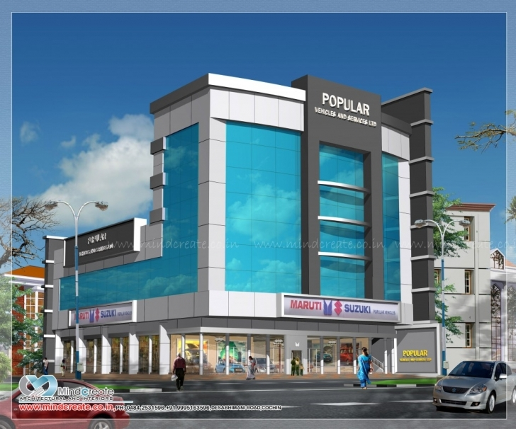 Incredible Commercial Building Plans| Kerala Model Home Plans Commercial Elevations Of Buildings Image