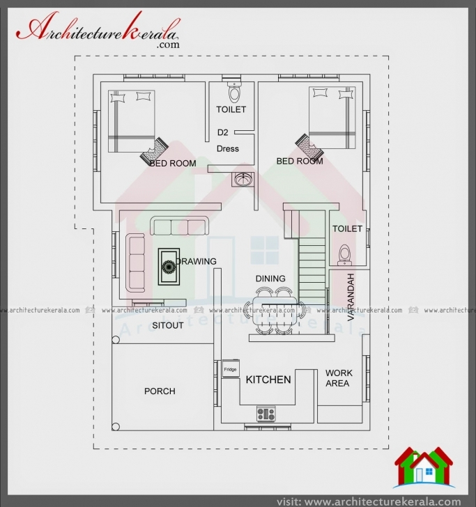 Inspirational 1000 Sqft Single Storied House Plan And Elevation - Architecture Kerala 750 Sq Ft House Plans North Facing Image