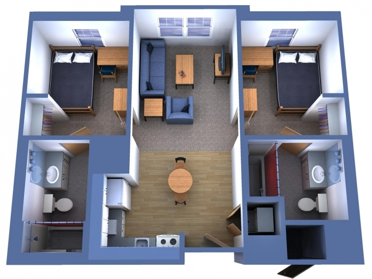 Inspirational 2 Bedroom Single Level House Plans 3D - Condointeriordesign Simple House Plan With 2 Bedrooms 3d Photo