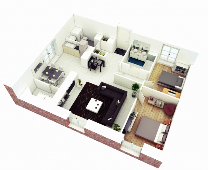 Inspirational Lovely Stock Simple House Plan With 2 Bedrooms And Garage 3D - Home Simple House Plan With 2 Bedrooms And Garage 3d Picture